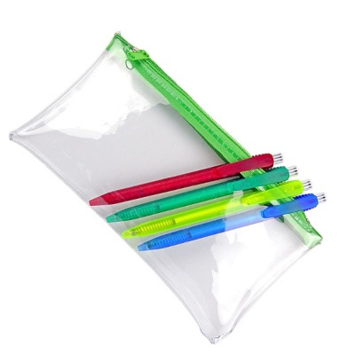 Image of PVC Pencil Case - Clear (Green Zip)